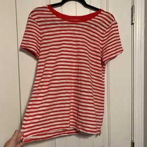 Old Navy Medium Red and White Striped T-Shirt